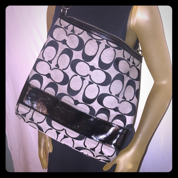 Coach patent leather and canvas messenger bag